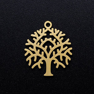 5pcs/lot Tree of Life diy Charms Wholesale 100% Stainless Steel High Polished Laser Cut Jewelry Custom Finding Charm Never Rust(China)