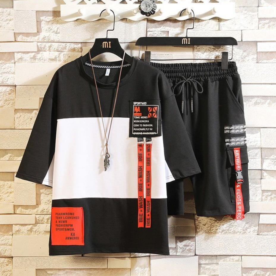 Fashion Styles Men's Sets Hip Hop Clothes Streetwear Summer Outfit Male T shirt And Pant Two Pieces Hip hop Set Size 3XL