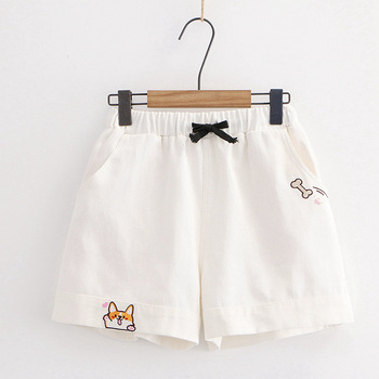 Harajuku Kawaii Drawstring Black Wide Leg Shorts Teen Girls Summer Loose Cute Embroidery High Waist Casual Women Short Pants men embroidery detail drawstring waist shorts