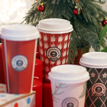 50pcs High quality creative red Christmas new year paper cup 14oz 400ml disposable coffee cup drink packaging cups with lid