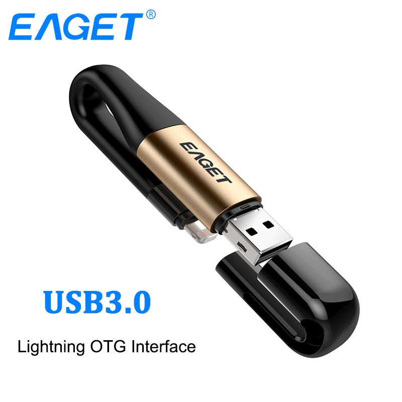 EAGET I90 2 In 1 OTG USB Flash Drive 64GB Lightning USB 3.0 Stick MFI Certified Pen Drive 128GB Flash Memory Stick For IPhone