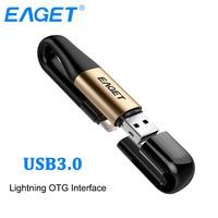EAGET I90 2 In 1 OTG USB Flash Drive 64GB Lightning USB 3.0 Stick MFI Certified Pen Drive 128GB Flash Memory Stick For iPhone