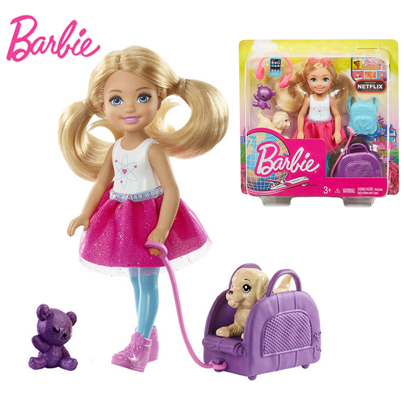 Original Barbie Travel ​Chelsea Dolls With Puppy Accessories Baby Boneca Girls Toys For Chilren Reborn Barbie Dolls Juguetes