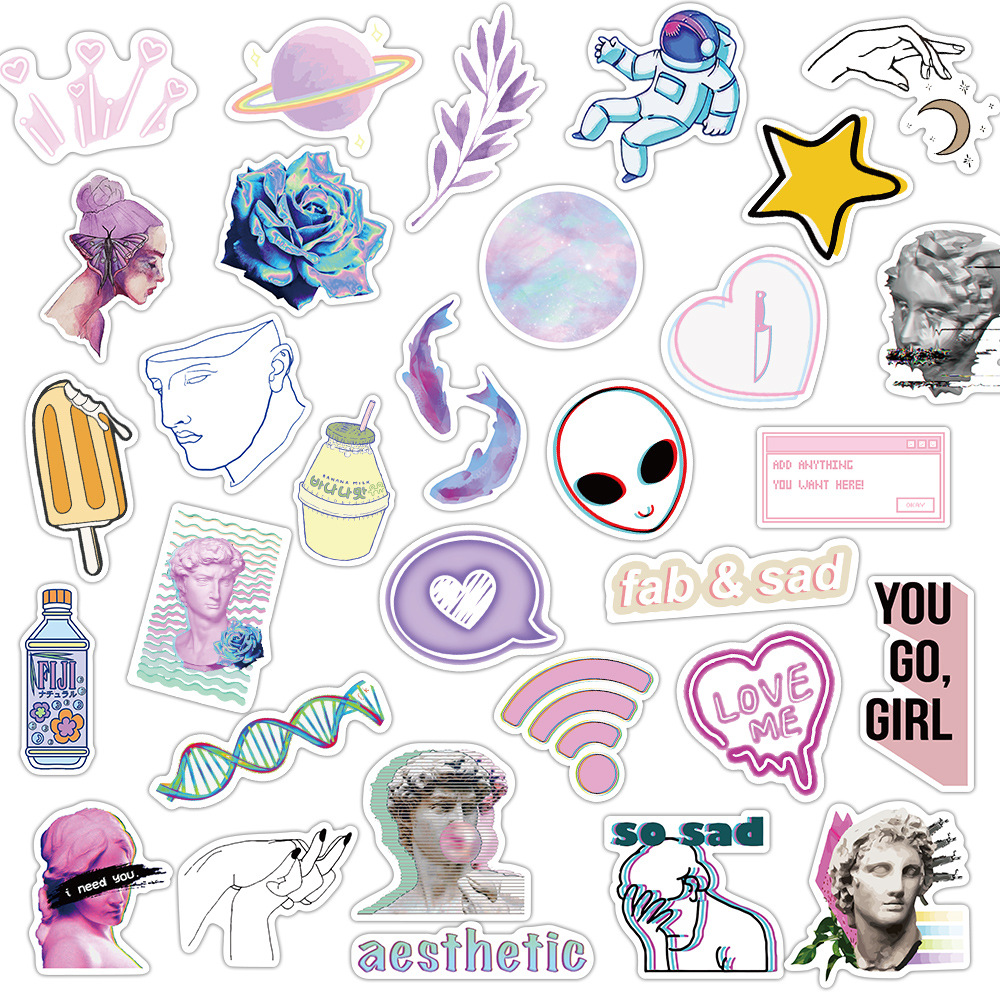 50pcs Vaporwave Art Style Sticker for Laptop Computer Skateboard Luggage Refrigerator Notebook Helmet Toy Cartoon Stickers