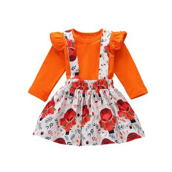 ARLONEET nowonarodzone dziecko dziewczynka chłopiec maluch wokół szyi pomarańczowy zestaw ładny jednolity kolor Top z długim rękawem drukowane kwiatowy kostium ze spódniczką zestaw tanie i dobre opinie Moda CN (pochodzenie) O-neck Sweter Child Clothes Set COTTON Poliester Dziewczyny Pełna REGULAR Pasuje prawda na wymiar weź swój normalny rozmiar