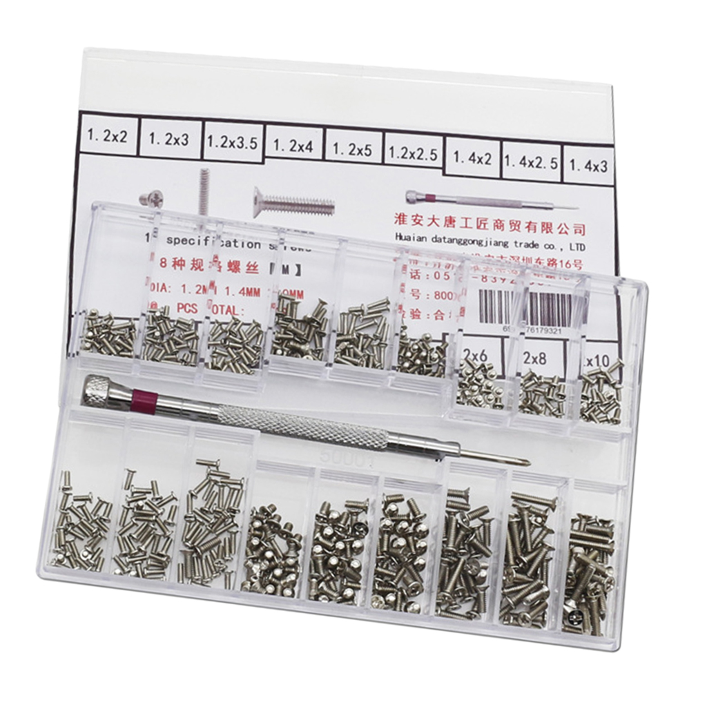 500x 18type Screw Nuts Watch Eyeglass Replacement Kit With Screwdriver 1.2-2.0mm