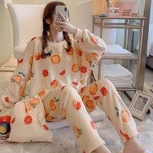 Сексуальные женские зимние Цветочные пижамы с длинными рукавами