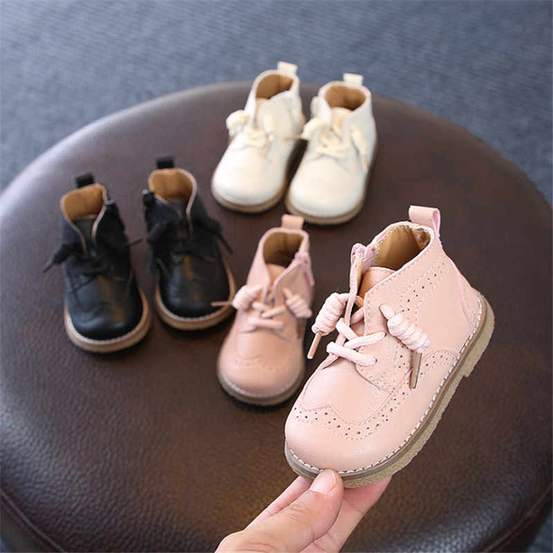 DIMI 2019 İlkbahar/Sonbahar bebek çizmeleri Yürümeye Başlayan deri ayakkabı Rahat Yumuşak Alt Bebek Ayakkabıları 0-3 Küçük Kız Erkek çizmeler