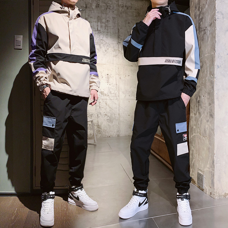 Sportswear men's sets teenager casual sports suit for men streetwear spring hooded man tracksuit two piece set jacket + pants