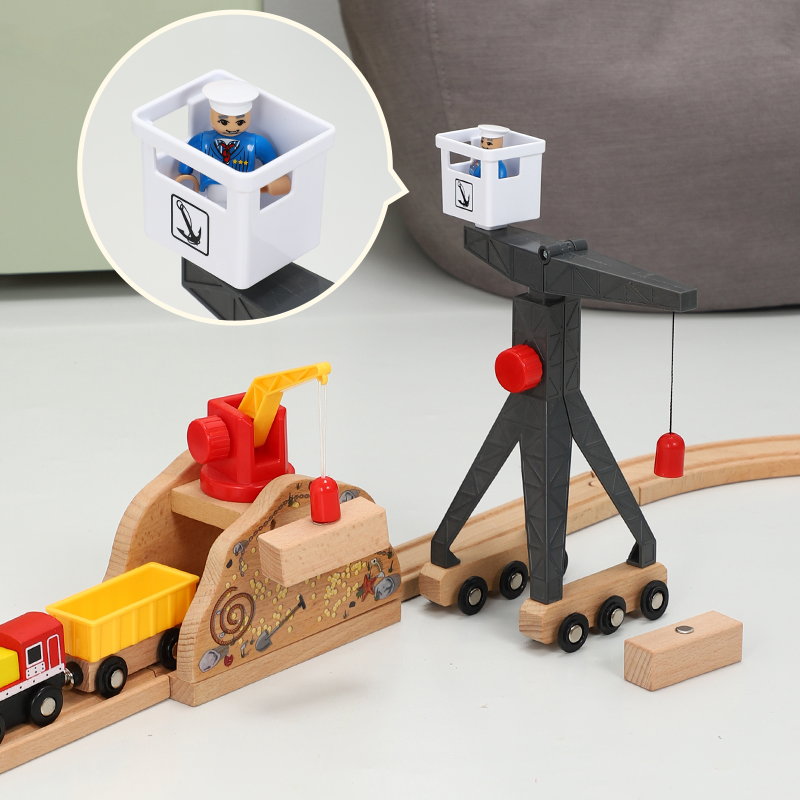 Bulk Wooden Track Accessories, Crane Tower Car Toys, Magnetic Decorations, Compatible With Railway Wooden Track Toys