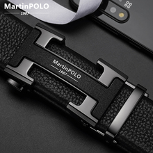 MARTINPOLO 100% Cowhide Genuine Leather Belt for Men Luxury Business Metal Buckle Automatic Belts Cowskin Strap fashion MP02801P
