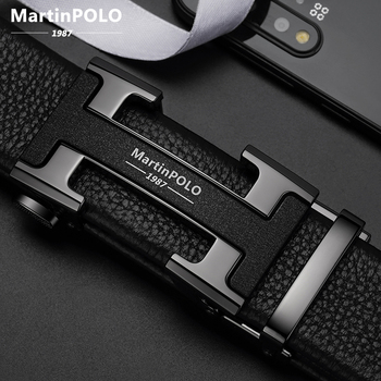 MARTINPOLO 100% Cowhide Genuine Leather Belt for Men Luxury Business Metal Buckle Automatic Belts Cowskin Strap fashion MP02801P designer fashion men belts luxury automatic buckle cowskin genuine leather belt for men business black waist male strap zd051
