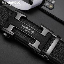 MARTINPOLO 100% เข็มขัดหนังวัวแท้cowhideสำหรับผู้ชายธุรกิจโลหะอัตโนมัติเข็มขัดCowskinสายคล้องคอแฟชั่นMP02801P