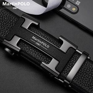 Image 1 - Мужской ремень MARTINPOLO из 100% натуральной воловьей кожи, Роскошный деловой ремень с автоматической металлической пряжкой, модный ремень из воловьей кожи MP02801P
