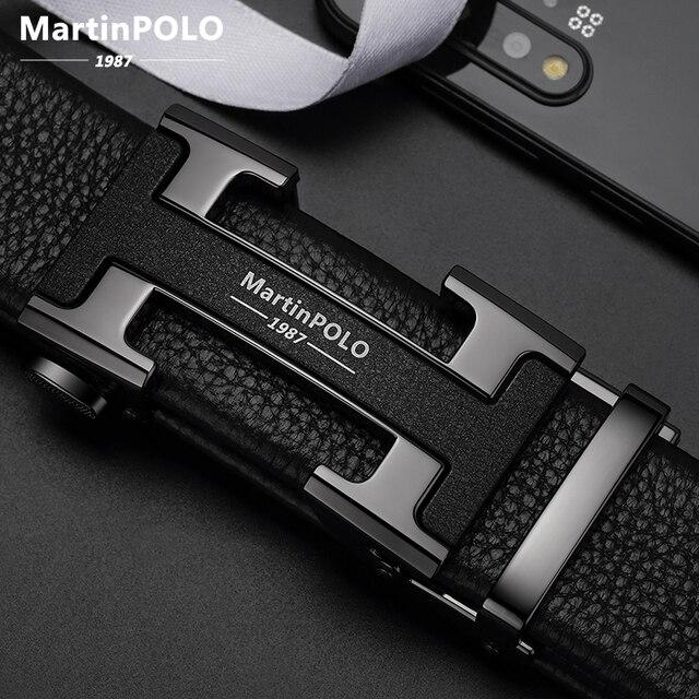 Мужской ремень MARTINPOLO из 100% натуральной воловьей кожи, Роскошный деловой ремень с автоматической металлической пряжкой, модный ремень из воловьей кожи MP02801P