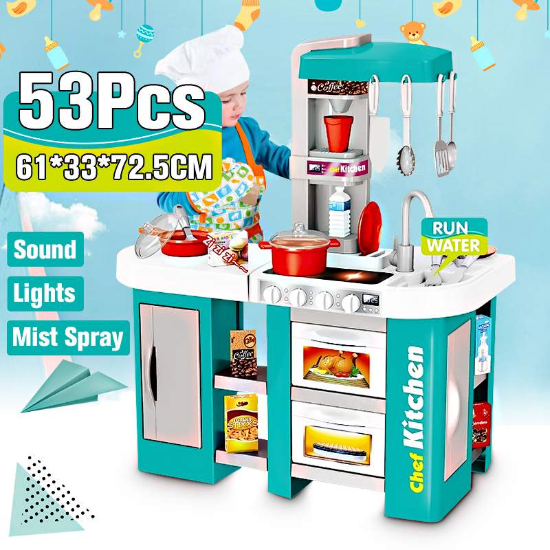 72.5cm Height Large Size Kitchen Playset Pretend Play Toys Chef Cooking Set 49pcs/53pcs Accessories Gifts For Kids Children