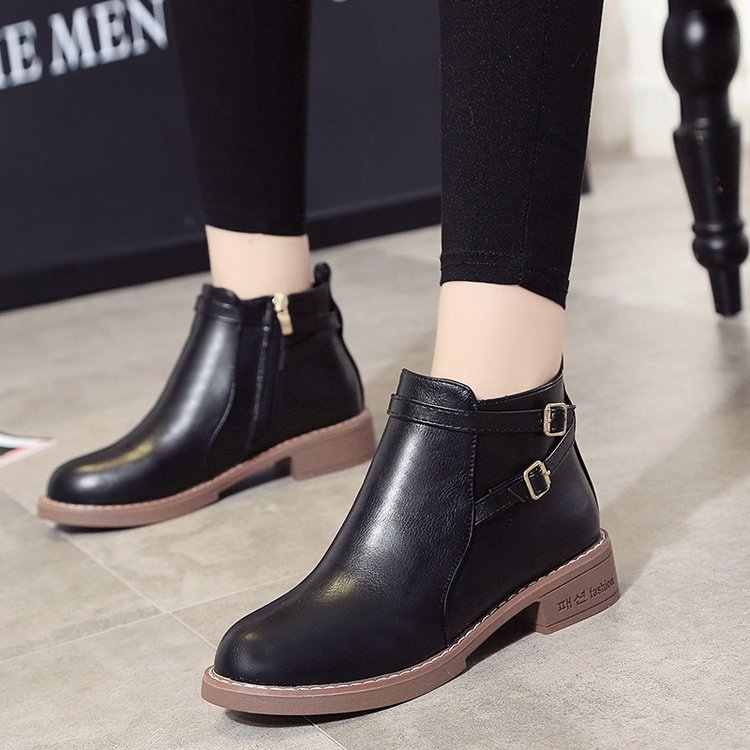 Kadın ayak bileği kısa çizmeler 2019 sonbahar kadın rahat ayakkabılar kadın düz moda platformu yuvarlak ayak toka kayış katı rahat