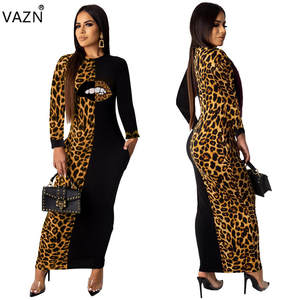 VAZN Dress Leopard High-Street Sexy Lady 5colors Autumn O-Neck LO6227 Fukll-Sleeve New-Product