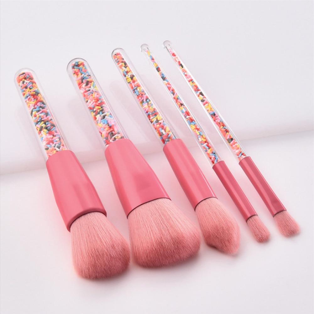New 5pcs Candy Unicorn Crystal Makeup Brushes Set Make Up Tools Foundation Powder Blusher Highlighter Eyeshadow Blending Brush