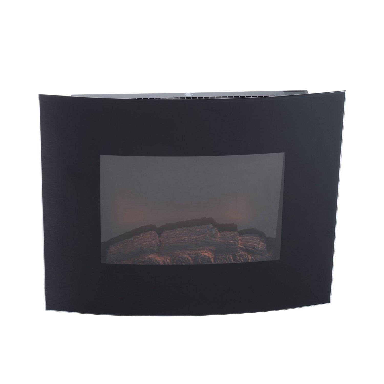 HOMCOM Fireplace Electric Power 900 W/1800 W Tempered Iron Wall And Glass 65x11x52 Cm Black