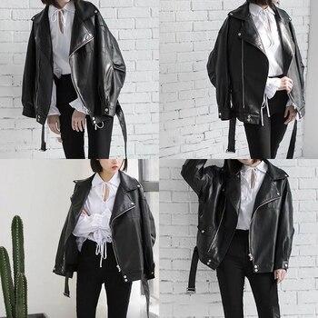 [EAM] High Quality 2021 Spring Black PU Leather Loose Turn-down Collar Zipper Fashion New Women's Wild Jacket LA938 4