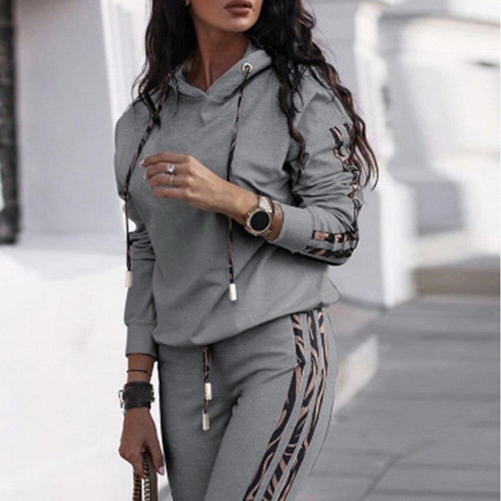 Осенне-зимний спортивный костюм для женщин, комплект из двух предметов, толстовка из искусственной кожи с капюшоном и длинными рукавами, топ и штаны, спортивный костюм для отдыха, повседневная одежда