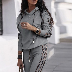 Autumn Winter Tracksuit Women Two Piece Set Hooded PU Long Sleeve Sweatshirt Top and Pants Leisure Sports Suit Casual Outfits