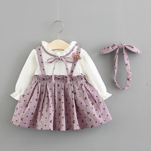 Image 3 - Baby Girl Dress Cotton Print Bow Princess Dress With Baby Headbands 2pcs Clothes Set Birthday Party Dress Infant Clothes