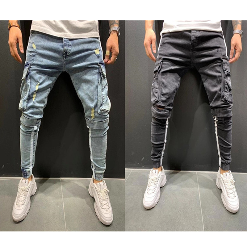 Europe And America Gentleman Print Trend Trousers   Multi-pockets Skinny Hot Selling Jeans MEN'S Trousers