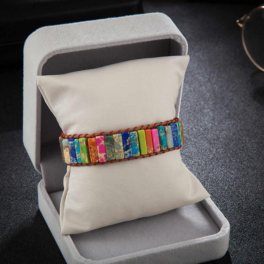 Bracelet multicolore Boho Bracelet en pierre naturelle Bracelet Chakra livraison directe Bracelet en cuir simple Bracelet bijoux de puissance