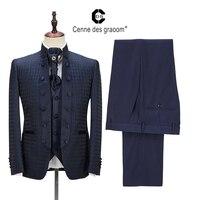 2020 Cenne Des Graoom New Men Suit Tailor-Made Suits Costume 4 Pieces Blazer Pants Ties  Wedding Party Groom Tuxedo DG-A2 Blue