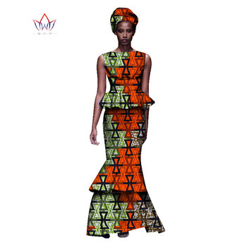 2020 New African Dresses For Women Dashiki Ladies Clothes Ankara O-Neck Africa Clothes Two Pieces Set Natural 6xl None WY1054 - 16, M