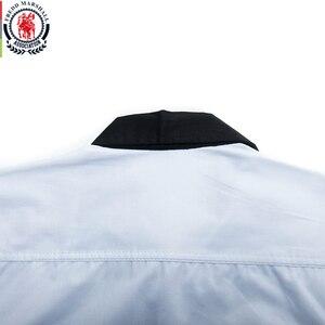 Image 5 - قميص فريد مارشال موضة 2020 بأكمام طويلة مُزين بقطع قماش مُخططة قمصان رجالية اجتماعية غير رسمية 100% قطن كاميسا ماسكولينا 220