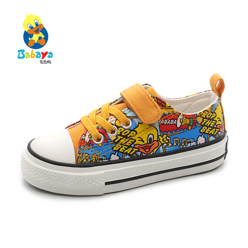 Babaya Children's Canvas Shoes Girls Casual Shoes Breathable Canvas Boys Shoes 2020 Spring New Cartoon Doodle Kids Sneakers