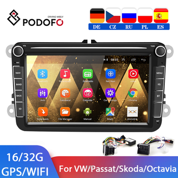 Podofo 2 din Android Car Radio GPS Multimedia player For VW/Volkswagen/Golf/Polo/Tiguan/Passat/b7/b6/SEAT/leon/Skoda/Octavia image