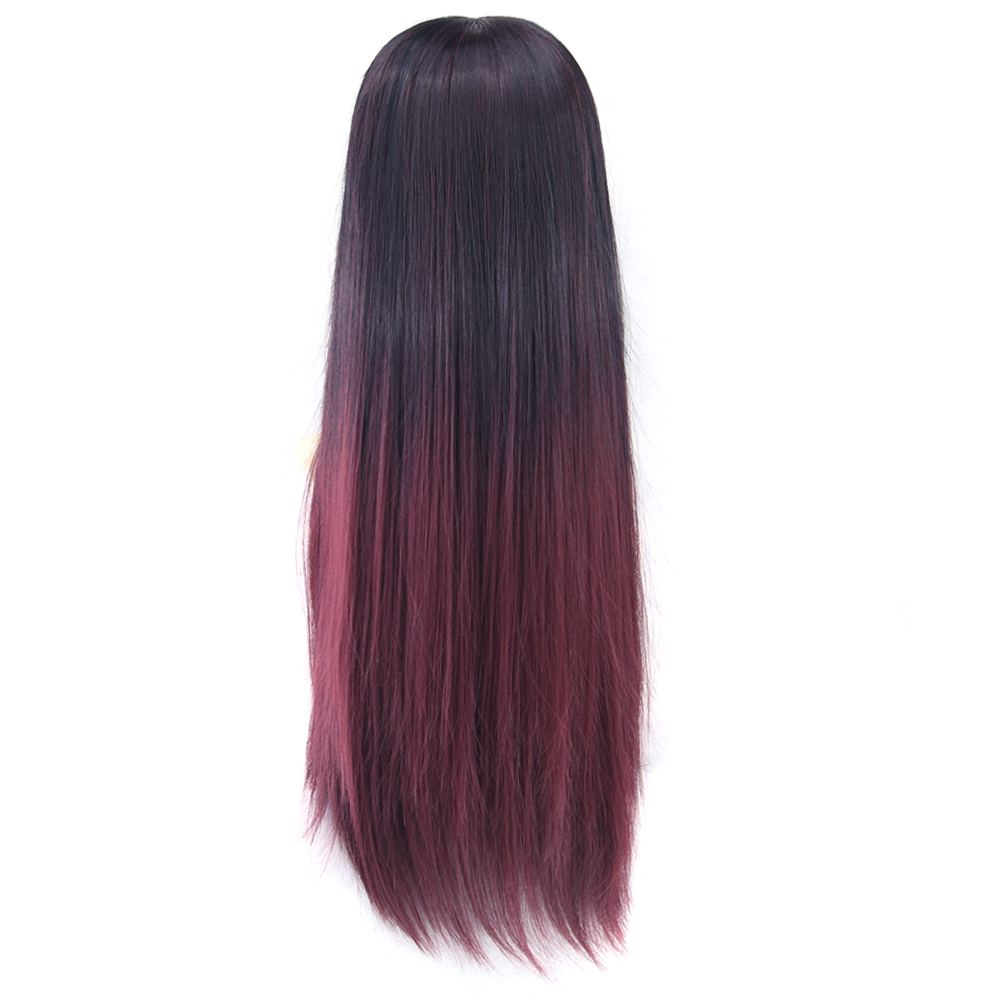 Soowee 6 Color Long Straight False Hair Black To Burgundy Ombre Wig Wigs-female Synthetic Hair Cosplay Wigs For Women