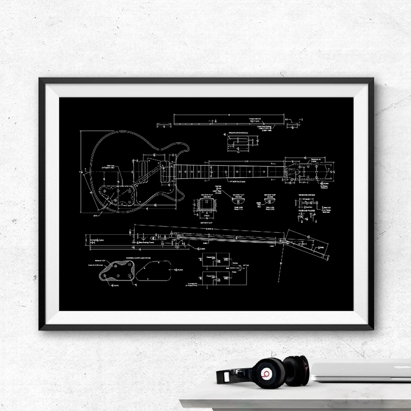 Guitar Patent Canvas Pritns Wall Decor