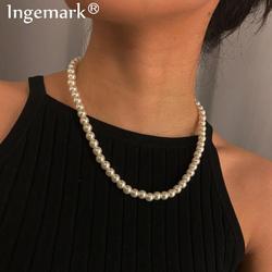 Collier gothique Baroque avec chaîne de perles pour femmes, bijou de mariée, brin, doux, ras du cou, meilleur ami blanc