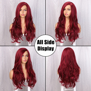 Image 2 - AISI QUEENS Long Wavy Synthetic Wig Red Wig for Women Cosplay Black Pink Wigs Partial Division Natural High Temperature Fiber