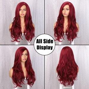 Image 2 - AISI كوينز طويل مموج شعر مستعار اصطناعي شعر مستعار أحمر للنساء تأثيري أسود وردي الباروكات جزئية تقسيم الطبيعية ارتفاع درجة الحرارة الألياف
