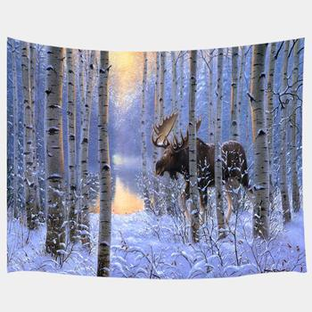 Moose Tapestry Wild Animals Christmas Theme Reindeer in American Forest on Mystic Snow Wintera Wall Art Hanging