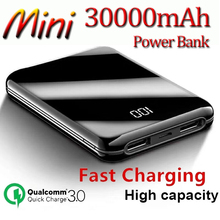 30000mAh Power Bank Mini Mirror Screen Digital Display Porta