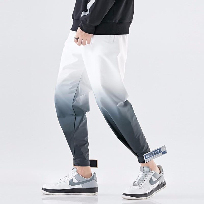 Original Design Men Street Cargo Pants Fashion Hip Hop Streetwear Harem Pants Trouser Elastic Waist Casual Splice Joggers Pants