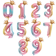 Shower-Decor-Supplies Rainbow-Balloons Number-Foil Crown Baby Girls Colorful 1-3 4 5