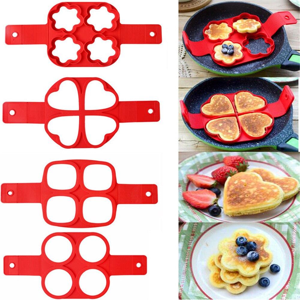 Fabricante de panqueca múltiplas formas 4 furos antiaderente silicone molde de cozimento anel ovo frito molde para a família cozinhar