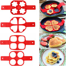 Pancake Maker Multiple shapes 4 Holes Nonstick Silicone Baking Mold Ring Fried Egg Mold for family cooking