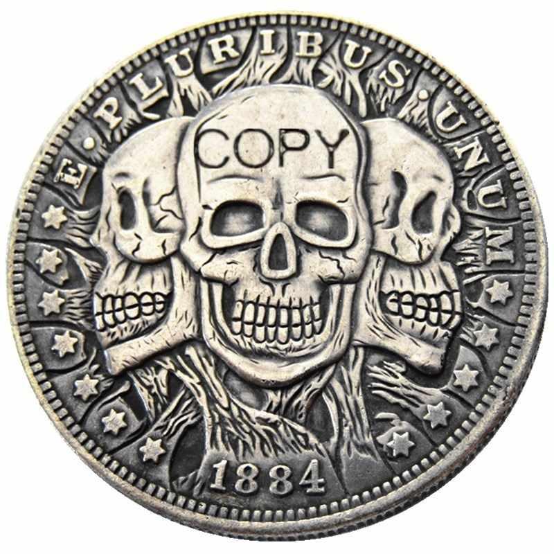 HB (09) ONS 1884-P-CC-S-O Morgan Dollar Skull Zombie Skeleton Verzilverd Kopie Munten