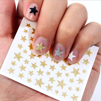 Nail Stickers 3D Nail Slider Stars Stickers Glitter Shiny Decoration Decal DIY Transfer Adhesive Colorful Nail Art Tips Manicure 1pc water nail stickers decal marine life flamingo leaf transfer nail art decorations slider manicure watermark foil tips
