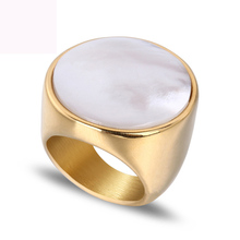 New luxury shell rings jewelry titanium steel fashion ring gold color plated for women free shipping