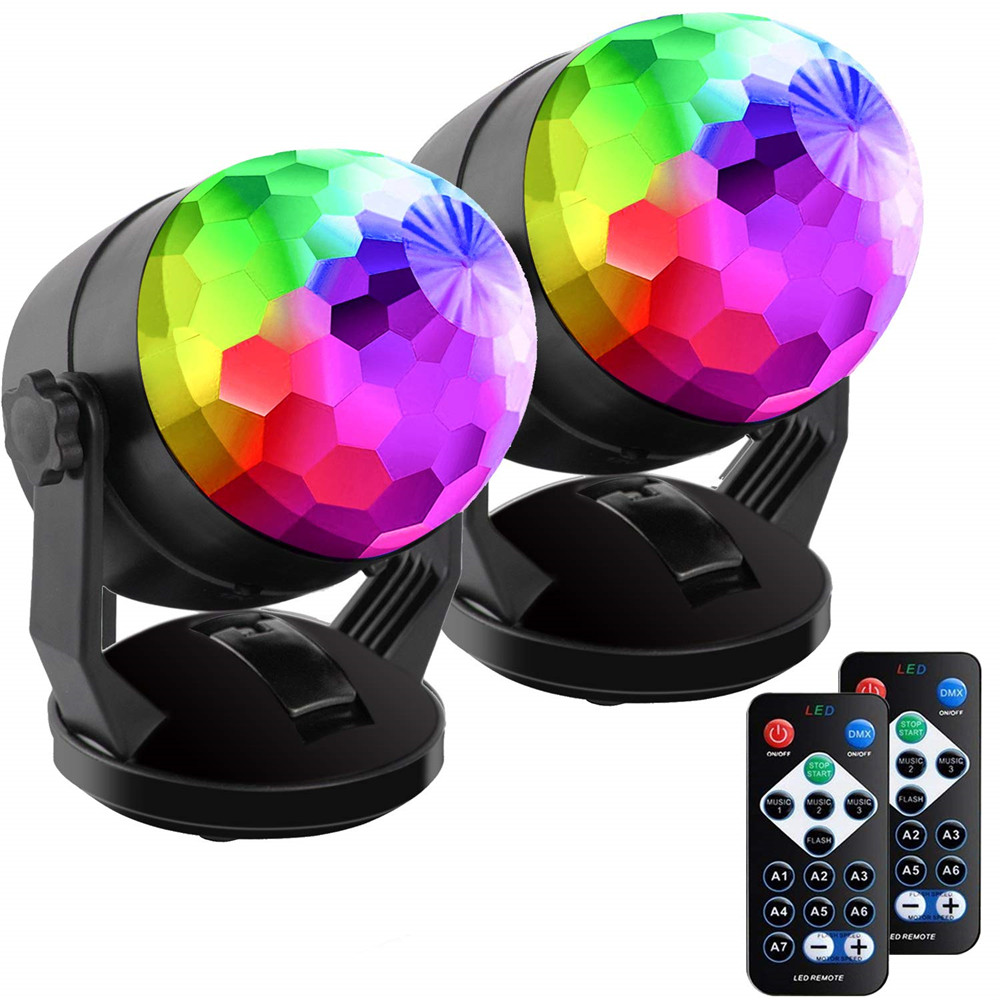 Battery Usb Magic Ball Lights Sound Activated Rotating Disco Ball Party Lights RGB LED Stage Lights For Christmas Wedding KTV